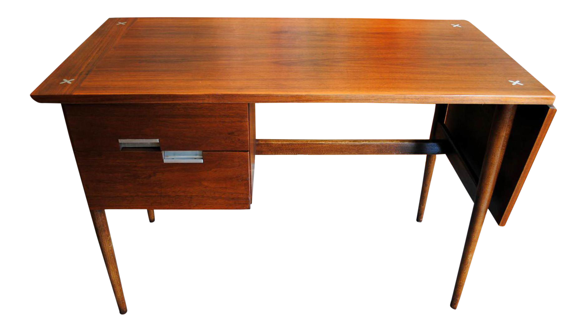 Mid Century American Of Martinsville Walnut Drop Leaf Desk