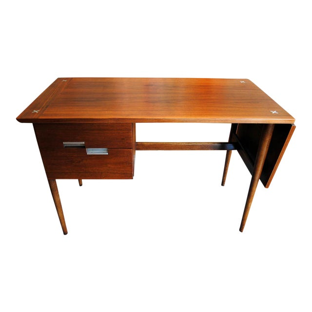 Mid Century American of Martinsville Walnut Drop Leaf Desk - Image 1 of 10