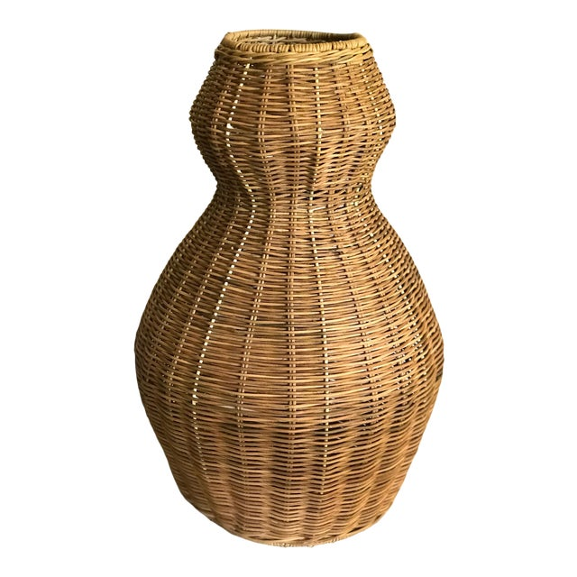 Tall Sculptural Vintage Wicker Double Gourd Basket For Sale