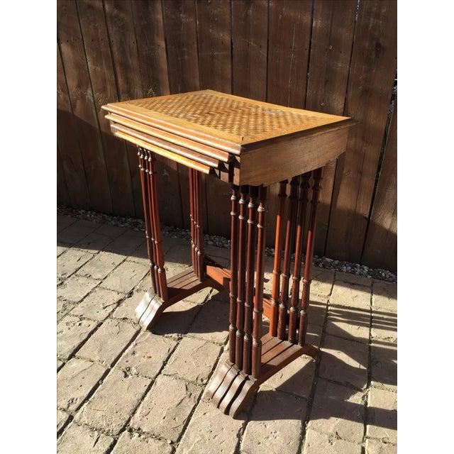 1820s English Walnut Nesting Tables, Signed - 4 - Image 2 of 11