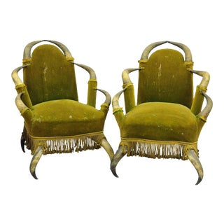 A Pair Antique Bull Horn Chairs Austria 1870 For Sale