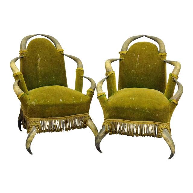 A Pair Antique Bull Horn Chairs Austria 1870 For Sale