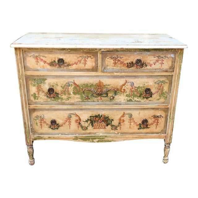 Antique Paint Decorated French Country Chest of Drawers Commode For Sale