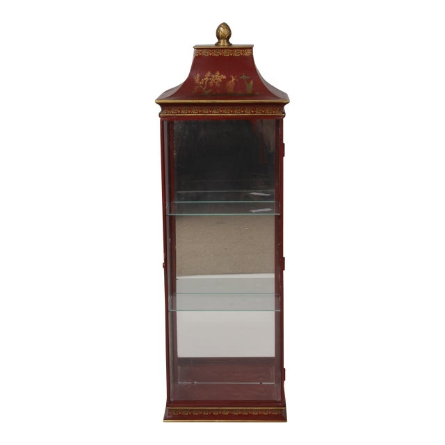 Chinoiserie Red Painted Tole Hanging or Standing Shelf - Image 1 of 5