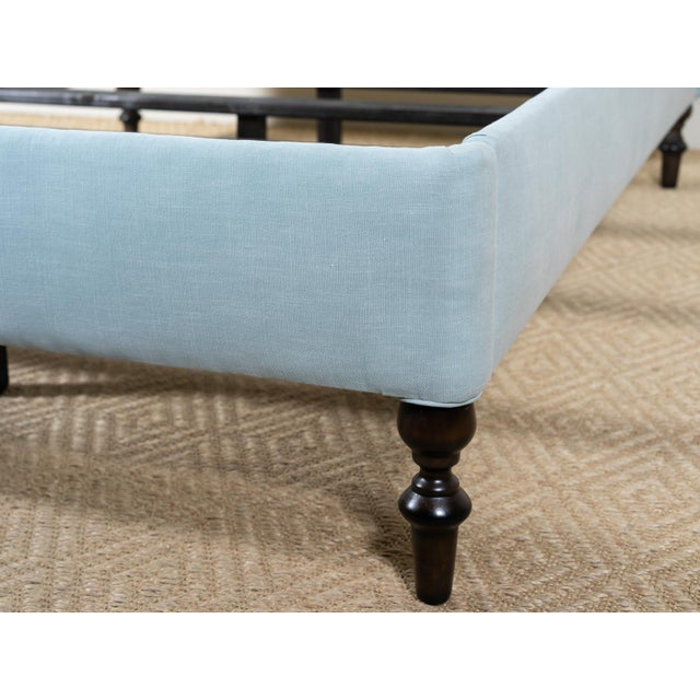 Savasana Upholstered Blue Cotton Queen Bedframe For Sale - Image 4 of 6