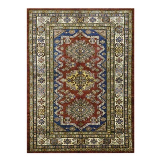 New Afghan Super Kazak Wool Rug- 4'1''x5'9'' For Sale