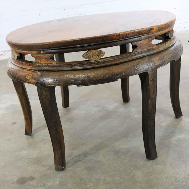 Antique Chinese Round Center Table Hand Carved Elm For Sale - Image 4 of 13