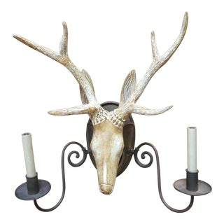 Wooden Deer Head Sconce