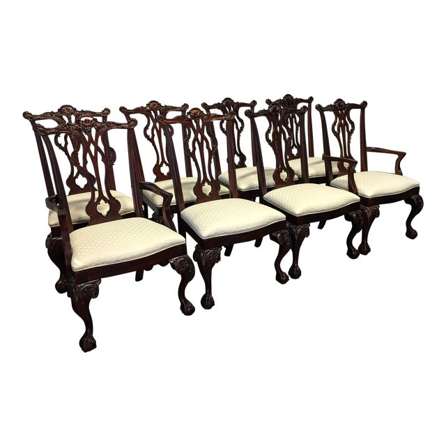 Thomasville Mahogany Collection Chippendale Dining Chairs - Set of 8 For Sale