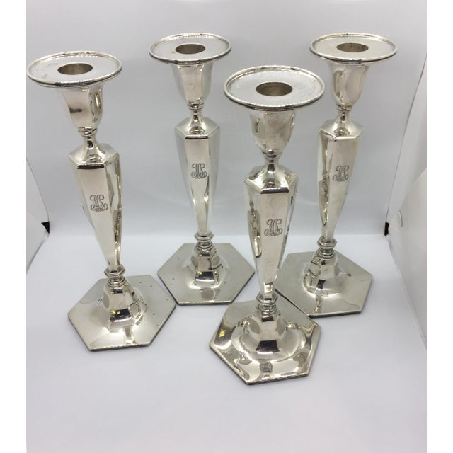 Tiffany & Co. Classic Six Sided Sterling Silver Candlesticks - Set of 4 For Sale - Image 11 of 11