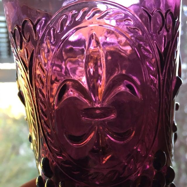 Purple Vintage Fleur De Lis Hobnail Glasses-Set of 3 For Sale - Image 8 of 10