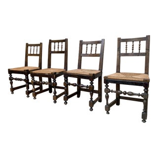 English Rush Spindle-Back Chairs - Set of 4 For Sale