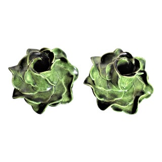 1970s Vintage Majolica Candle Holders - a Pair For Sale