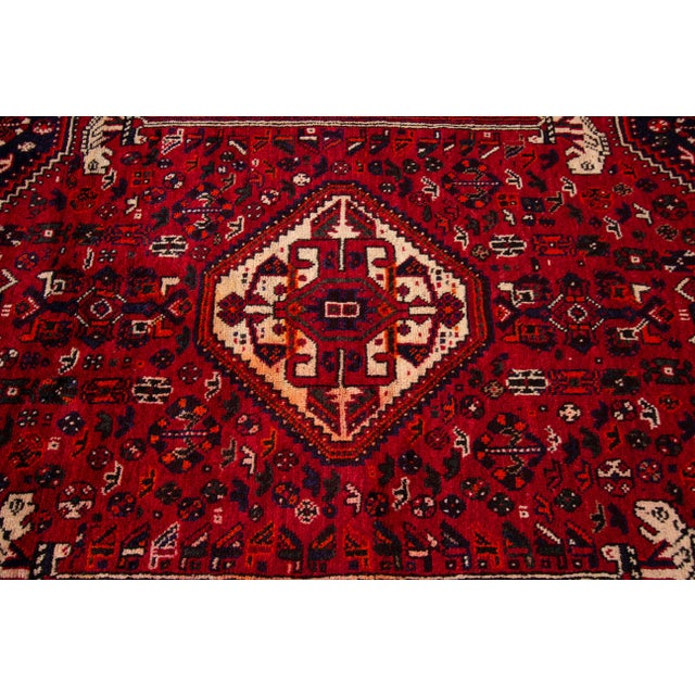 """Textile Vintage Persian Shiraz Rug, 5'10"""" X 8'7"""" For Sale - Image 7 of 9"""