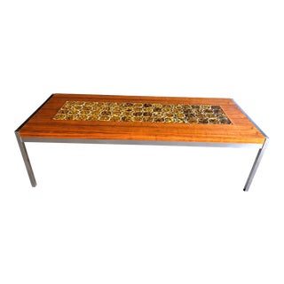 1960s Mid Century Modern Teak & Chrome Tiled Coffee Table For Sale