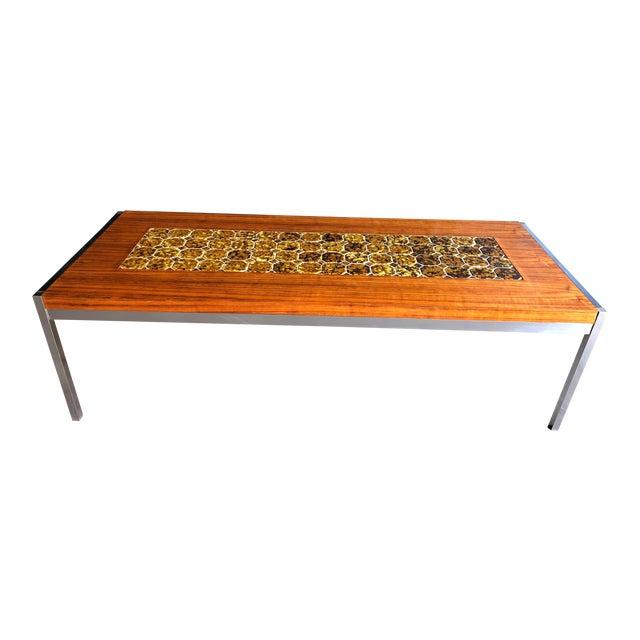 1960s Mid Century Modern Teak & Chrome Tiled Coffee Table For Sale