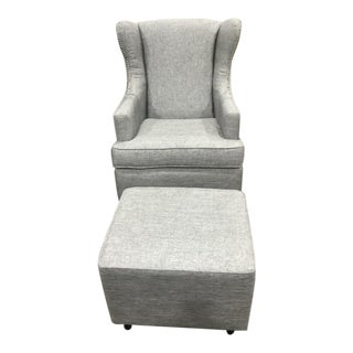 Contemporary Metallic Silver Wingback Glider with Ottoman - 2 Pieces For Sale