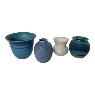 Danish Miniature Hand Made Pottery Vases - Set of 4 For Sale