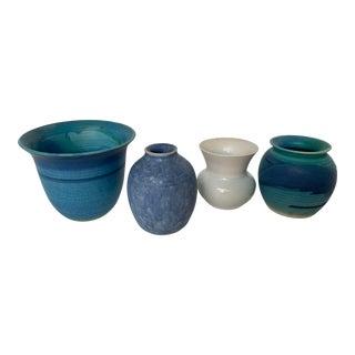 Danish Miniature Handmade Pottery Vases - Set of 4 For Sale