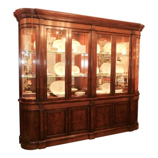 Traditional Walnut Burl Wood Lighted China Cabinet For Sale