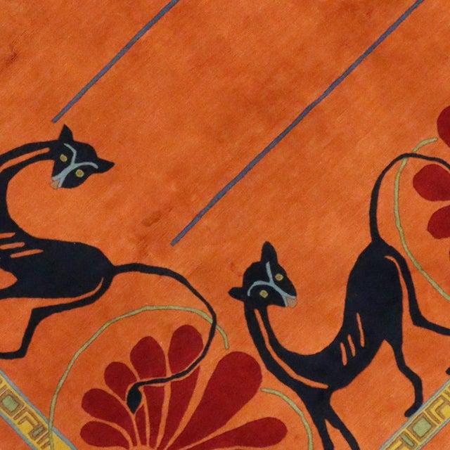 Vintage Tibetan Orange with Black Cats Rug - 8′3″ × 10′2″ For Sale - Image 4 of 7