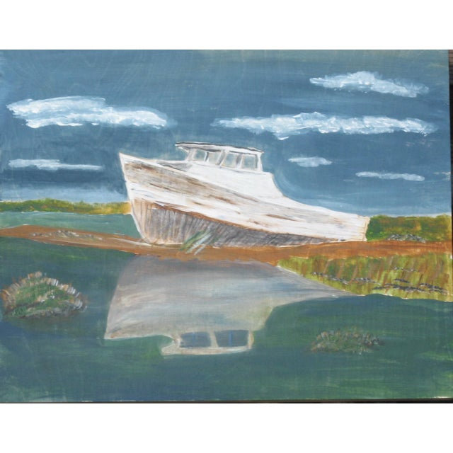 """Beached Boat"" Painting on Wooden Panel - Image 4 of 4"