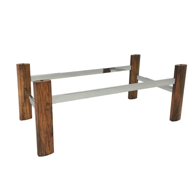 Mid-Century Modern Mid-Century Rosewood & Chrome Base Coffee Table For Sale - Image 3 of 4
