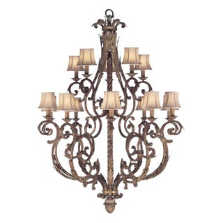 Stile Bellagio 15-Light Tortoise Leather Crackle Chandelier For Sale