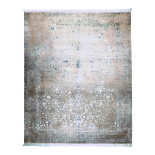 Blue Hand-Knotted Contemporary Rug - 8'x 10'