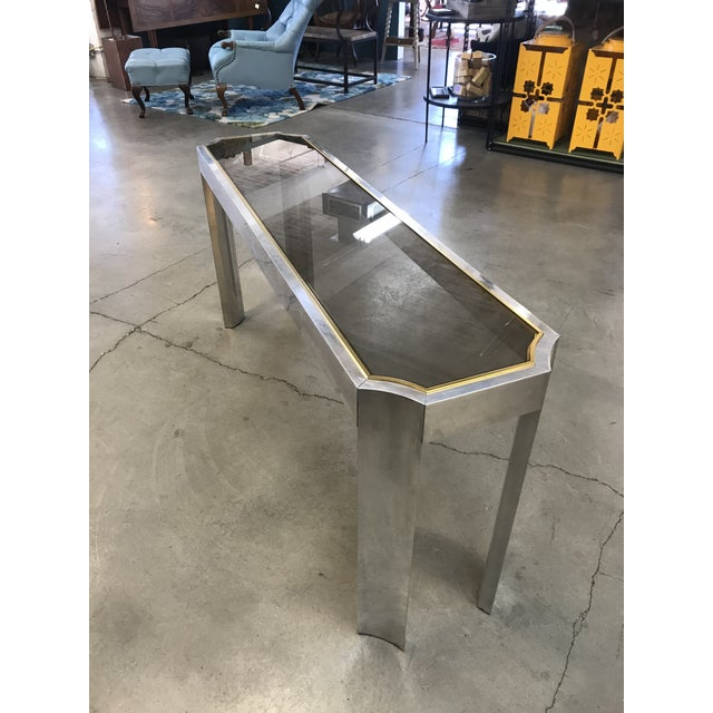 1970s 1970s Chrome Brass and Smoked Glass Baughman Style Console Table For Sale - Image 5 of 7