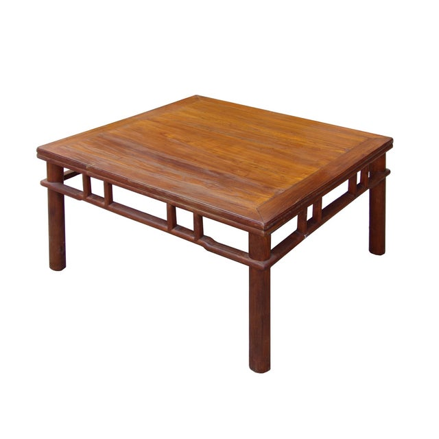 Chinese Ming Style Round Legs Square Coffee Table - Image 2 of 6