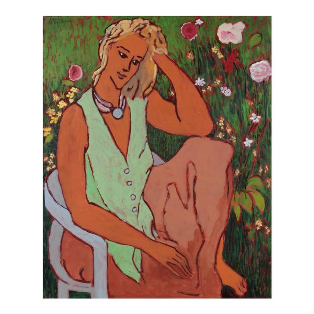 Rip Matteson Woman in Garden With Red and Pink Roses and Yellow Flowers, Oil Painting on Canvas, 20th Century For Sale