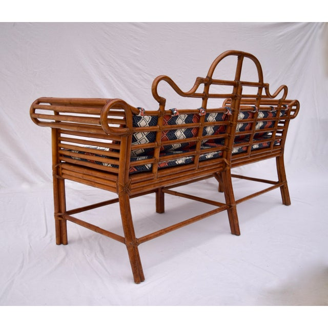 Asian Lane Furniture Bamboo Caned Rattan Chinoiserie Sofa For Sale - Image 3 of 13