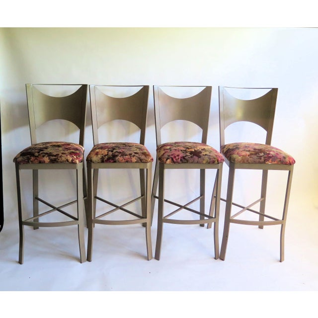 "1980s ""X"" Support Flat Iron Bar Stools - Set of 4 For Sale - Image 5 of 5"