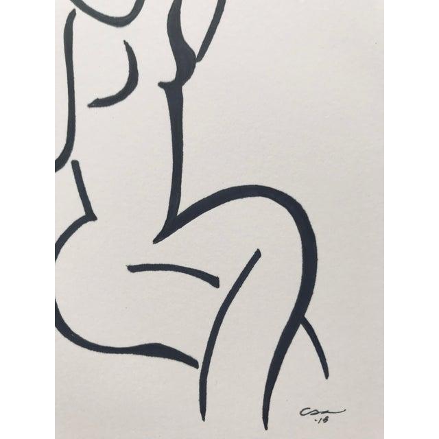 "Original Minimalist Figure Drawing ""Seated Figure"" For Sale - Image 4 of 7"