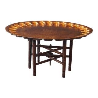 Vintage Turkish Copper Folding Tea Table For Sale