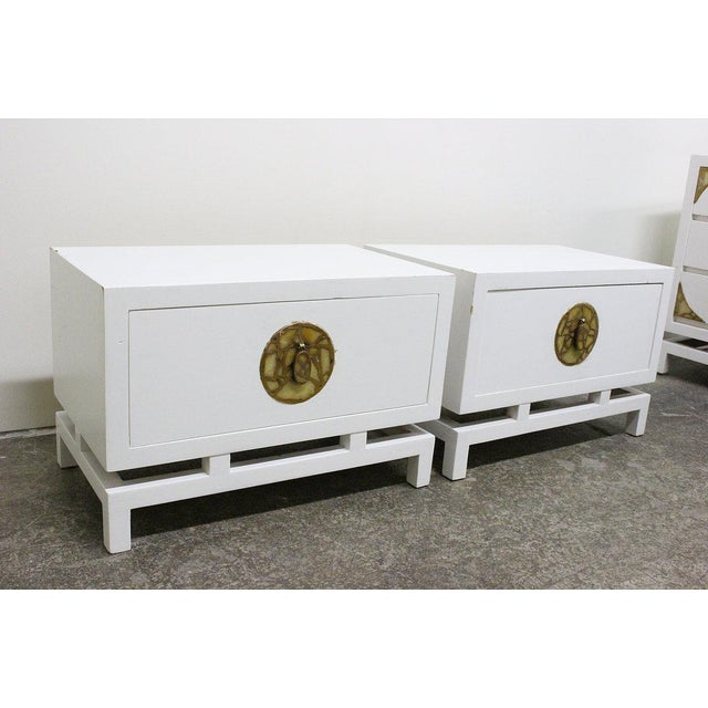 Mid-Century Modern Pair of Lacquered Nightstands/Side Tables by Frank Kyle, Pepe Mendoza Hardware For Sale - Image 3 of 8
