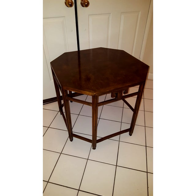 Baker Far East Collection by Michael Taylor Walnut Burl Octoganol End Table - Image 6 of 7