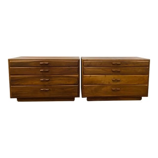 Matching Pair of John Kapel Mid Century Modern Walnut Dressers For Sale
