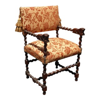 Antique Spanish Revival Lion Head Barley Twist Orange Accent Chair For Sale