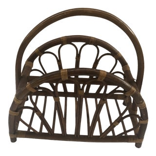 1970s Rattan Magazine Rack For Sale