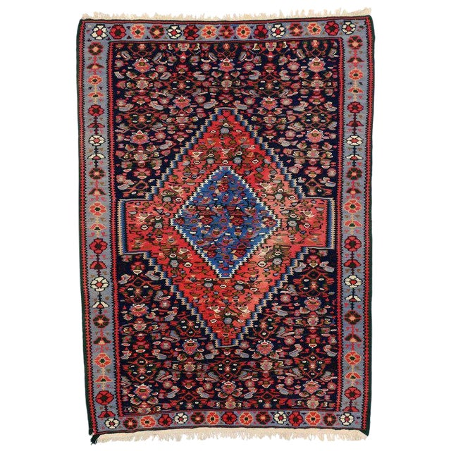 20th Century Persian Bijar Accent Rug For Sale