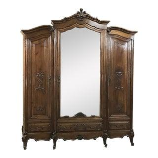 Antique Italian Baroque Walnut Triple Armoire For Sale