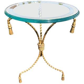 Italian Hollywood Regency Gilt Iron Side Table For Sale