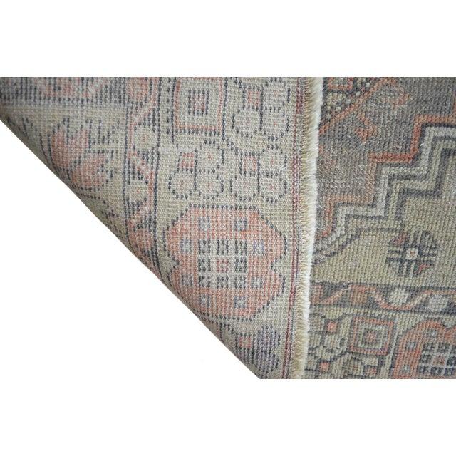 Textile Faded Muted Colors Impressive Medallion Vintage Ushak Rug Low Pile Distressed Area Rug - 3'5'' X 5'8'' For Sale - Image 7 of 8