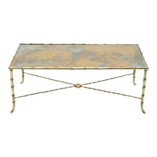 1960s French Maison Jansen Brass Bamboo Mirrored Coffee Table For Sale