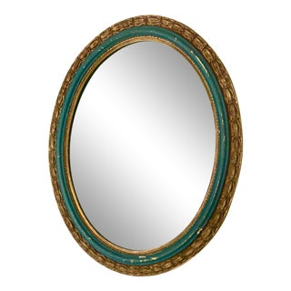 Early 20th Century French Carved Emerald Green and Giltwood Oval Mirror For Sale