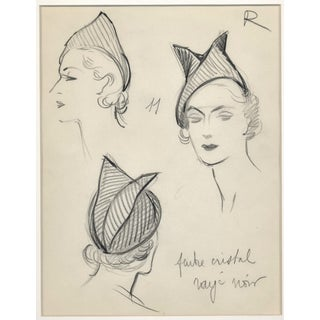 Matted Original Vintage French Hat Fashion Design Drawing C 1935 For Sale