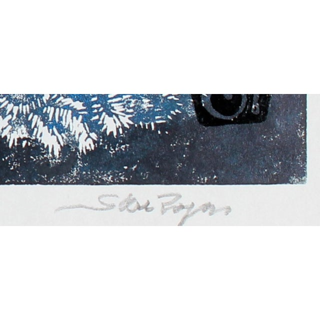 """This 2014 linoleum block print on paper entitled """"Blue Cochin Pair"""" is by Los Angeles artist Steve Rogers. Signed, dated,..."""