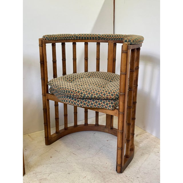 Wood Vintage Set of 4 Bamboo Barrel Back Game Chairs For Sale - Image 7 of 13
